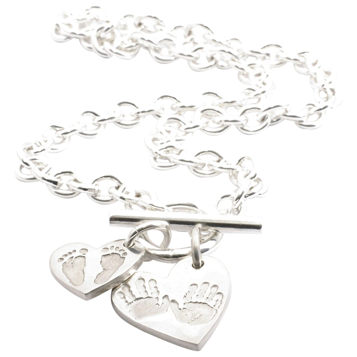 FingerPrint Jewellery FingerPrint Jewellery Ten Tiny Toes Heart Pendant and Charm Necklace, Silver