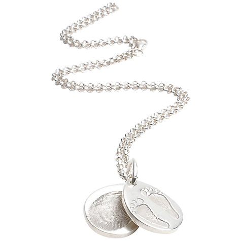 Buy FingerPrint Jewellery Ten Tiny Toes Teardrop Locket Necklace, Silver Online at johnlewis.com