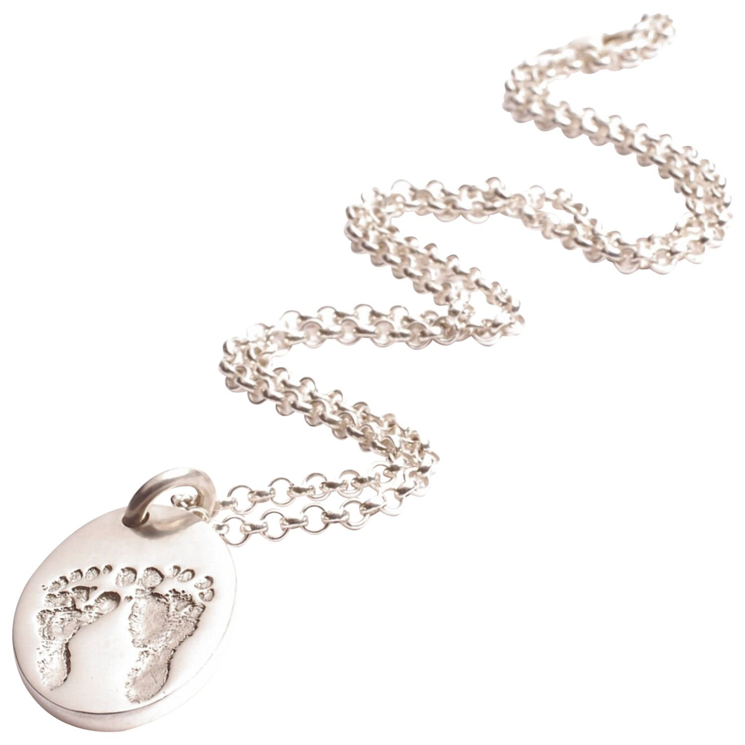 FingerPrint Jewellery FingerPrint Jewellery Ten Tiny Toes Oval Pendant Necklace, Silver