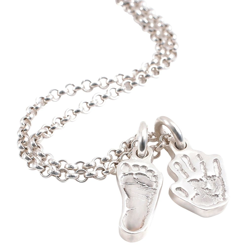 FingerPrint Jewellery FingerPrint Jewellery Two Little Hand and Footprint Charms Necklace, Silver