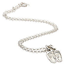 Buy FingerPrint Jewellery Two Little Footprint Charms Necklace, Silver Online at johnlewis.com