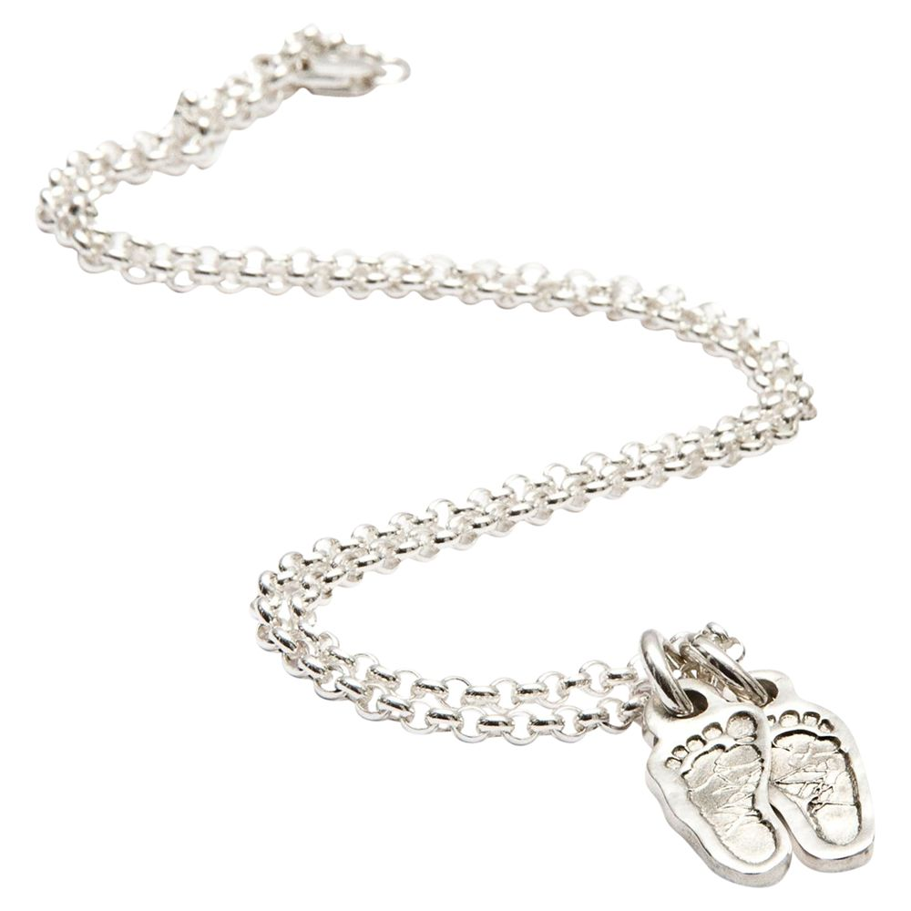 FingerPrint Jewellery FingerPrint Jewellery Two Little Footprint Charms Necklace, Silver