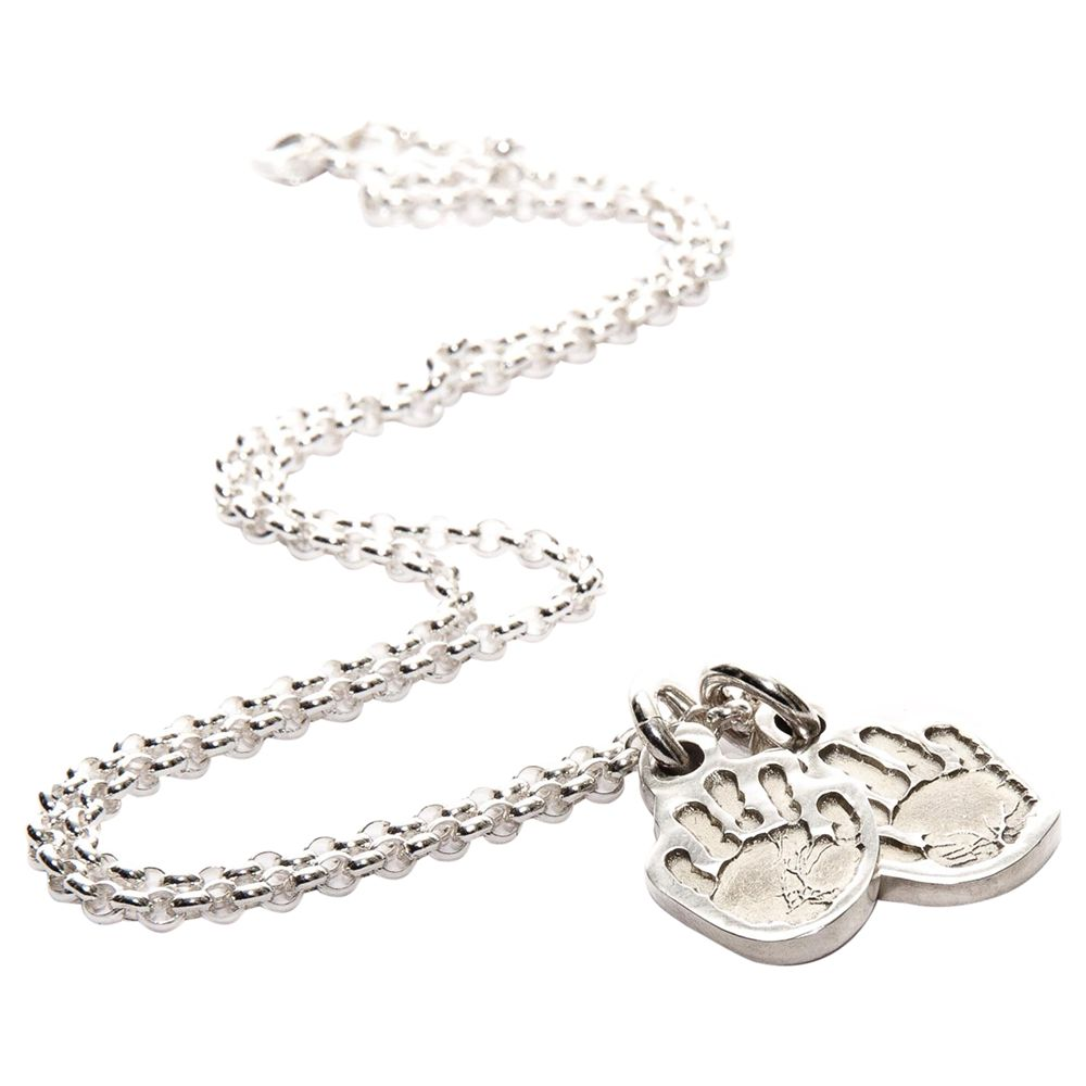 FingerPrint Jewellery FingerPrint Jewellery Two Little Handprint Charms Necklace, Silver
