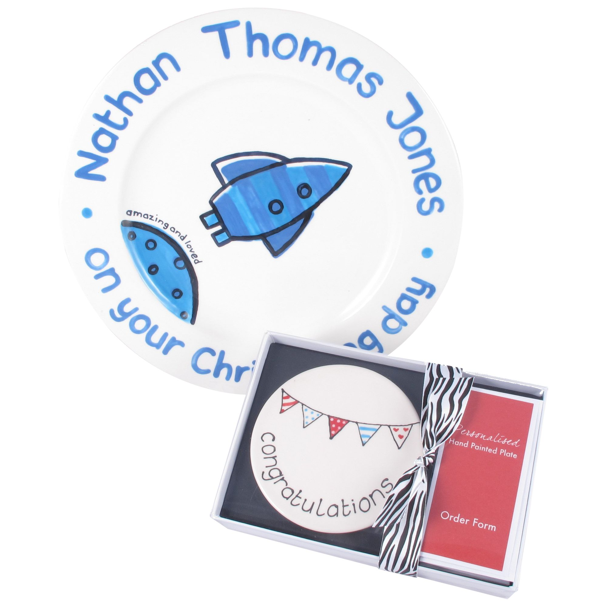 Personalised Ceramic Plate And Boxed Gift Voucher
