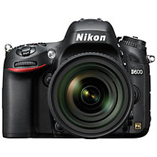 "Buy Nikon D600 Digital SLR Camera, 24-85mm & 50mm Lens, HD 1080p, 24.3MP, 3.2"" LCD Screen, Black Online at johnlewis.com"
