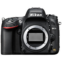 "Buy Nikon D600 Digital SLR Camera with 50mm Lens, HD 1080p, 24.3MP, 3.2"" LCD Screen, Black Online at johnlewis.com"