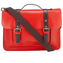 Buy Ted Baker Skolday Leather Satchel, Red Online at johnlewis.com