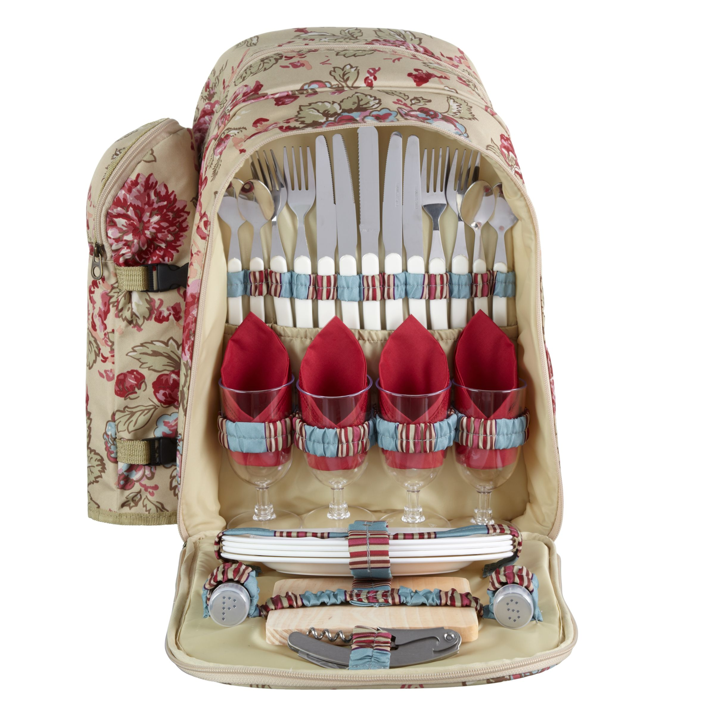 Joules Rose Filled Picnic Backpack, Multi