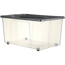 Buy John Lewis Clear Plastic Lidded Storage Box on Wheels, 150L Online at johnlewis.com