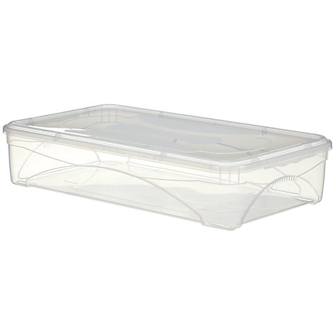 Buy John Lewis Clear Plastic Lidded Underbed Storage Box, 34L Online at johnlewis.com