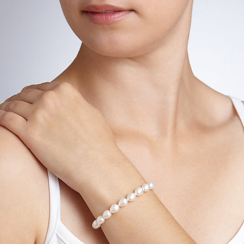 Buy John Lewis Faux Pearl Bracelet, White Online at johnlewis.com