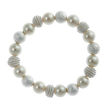 Buy John Lewis Faux Pearl, Frosted and Coil Bead Stretch Bracelet, White Online at johnlewis.com