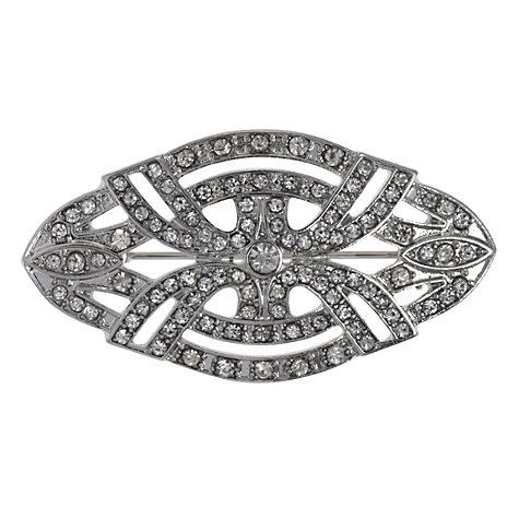Buy John Lewis Vintage Effect Rhodium Plated Diamante Brooch, Silver Online at johnlewis.com
