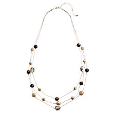 Buy John Lewis Triple Row Crystal and Faux Pearl Necklace, Neutrals Online at johnlewis.com