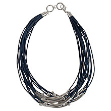 Buy John Lewis Cord and Metal Bead Necklace, Blue Online at johnlewis.com