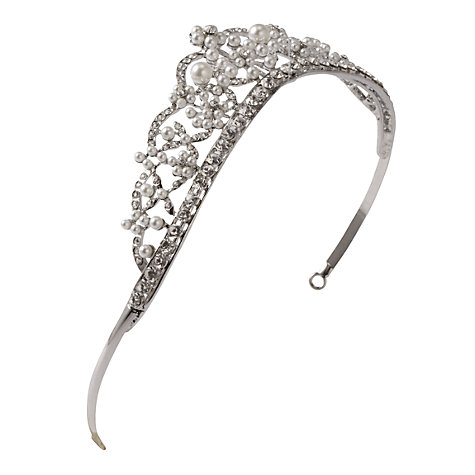 Buy John Lewis Diamante and Faux Pearl Tiara Crown, Silver Online at johnlewis.com