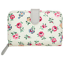 Buy Cath Kidston Floral Print Folded Zip Wallet, White Online at johnlewis.com