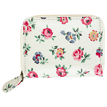 Buy Cath Kidston Floral Print Zip Travel Purse, Linen White Online at johnlewis.com