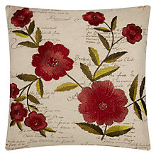 Buy John Lewis Script Bloom Cushion, Red Multi Online at johnlewis.com