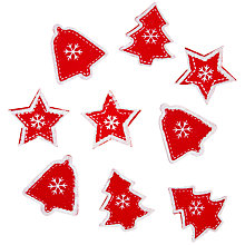 Buy John Lewis Paper Toppers, Stars Bells and Trees, Red, Pack of 9 Online at johnlewis.com