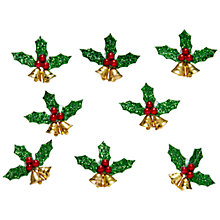 Buy John Lewis Paper Toppers Holly and Bells, Pack of 8 Online at johnlewis.com