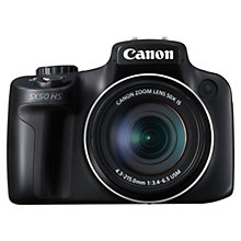 "Buy Canon PowerShot SX50 HS Bridge Camera, HD 1080p, 12.1MP, 50x Optical Zoom, 2.7"" LCD Screen, Black with 16GB + 8GB Memory Card Online at johnlewis.com"