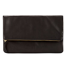 Buy Collection WEEKEND by John Lewis Mistry Leather Clutch Bag, Black Online at johnlewis.com