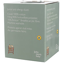 Buy John Lewis Baby Anti Allergy Cotbed Duvet, 7 Tog Online at johnlewis.com