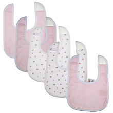 Buy John Lewis Baby Floral Bibs, Pack of 5, Pink Online at johnlewis.com