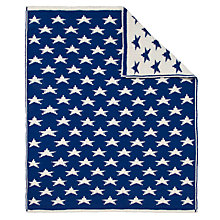 Buy John Lewis Knitted Star Pram Blanket, Royal Blue Online at johnlewis.com