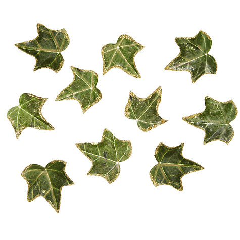 Buy John Lewis Glitter Edged Ivy Leaves, Pack of 10, Green Online at johnlewis.com