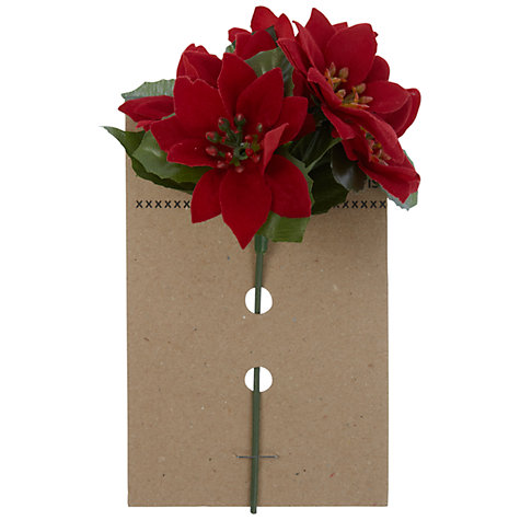 Buy John Lewis Velvet Poinsettia Pick, Red Online at johnlewis.com