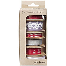 Buy John Lewis Christmas Contemporary Ribbon Box, Pack of 6, Red/Silver Online at johnlewis.com