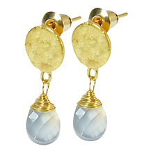 Buy Azuni Gold Plated Faceted Chalcedony Drop Earrings, Cornflower Blue Online at johnlewis.com