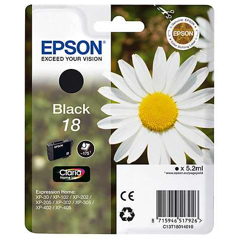Buy Epson Daisy 18 Black Ink Cartridge, Black Online at johnlewis.com