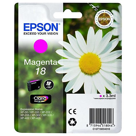 Buy Epson 18 Magenta Ink Cartridge Online at johnlewis.com