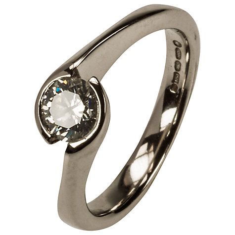 Buy Mitch Preston 18ct White Gold Solitaire Diamond Ring, K½ Online at johnlewis.com