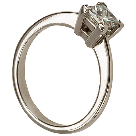 Buy Mitch Preston 18ct White Gold Princess Cut Solitaire Diamond Ring, M Online at johnlewis.com