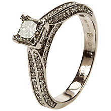 Buy Mitch Preston 18ct White Gold Princess Cut Diamond Ring, L½ Online at johnlewis.com