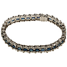 Buy Mitch Preston Baguette Cut Sapphire and Round Diamond Bracelet, Blue Online at johnlewis.com