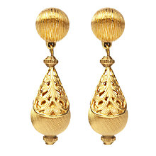 Buy Susan Caplan Vintage 1970s Monet Golden Filigree Drop Clip-One Earrings, Gold Online at johnlewis.com