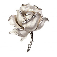 Buy Susan Caplan Vintage 1960s Trifari Silver Plated Rosebud Brooch Online at johnlewis.com