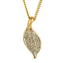 Buy Sharon Mills Leaf Pendant Set Diamond 9ct Gold Leaf Pendant, Gold Online at johnlewis.com