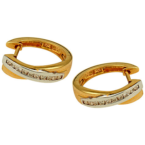 Buy Sharon Mills 9ct Yellow & White Gold Twist Diamond Hoop Earrings, Gold Online at johnlewis.com