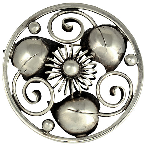 Buy Sharon Mills Danish Circa 1950s Sterling Silver Round Leaf and Scroll Brooch Online at johnlewis.com
