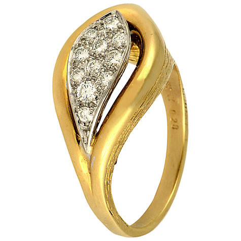 Buy Sharon Mills Pave Diamond 14ct Gold Leaf Ring Online at johnlewis.com