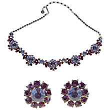 Buy Alice Joseph Vintage Trifari 1950s Diamanté Necklace and Clip-On Earrings Set, Purple Online at johnlewis.com