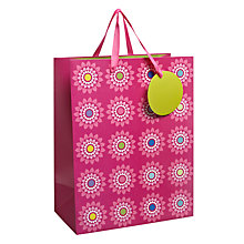 Buy John Lewis Graphic Flower Gift Bag, Pink, Small Online at johnlewis.com