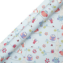 Buy John Lewis Owls Wrapping Paper, Blue, L3m Online at johnlewis.com