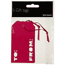 Buy John Lewis To and From Gift Tags, Pink, Pack of 5 Online at johnlewis.com